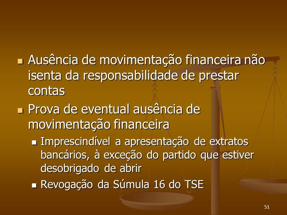 51 Ausência de movimentação financeira não isenta da responsabilidade de prestar contas Ausência de movimentação financeira não isenta da responsabili