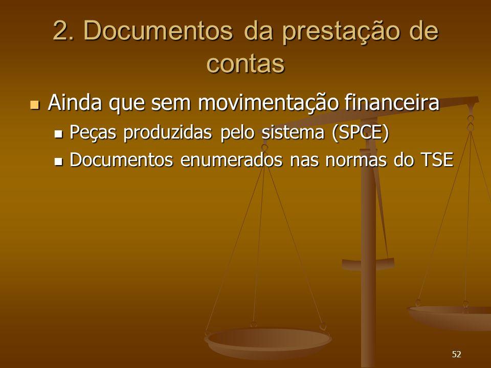 52 2. Documentos da prestação de contas Ainda que sem movimentação financeira Ainda que sem movimentação financeira Peças produzidas pelo sistema (SPC
