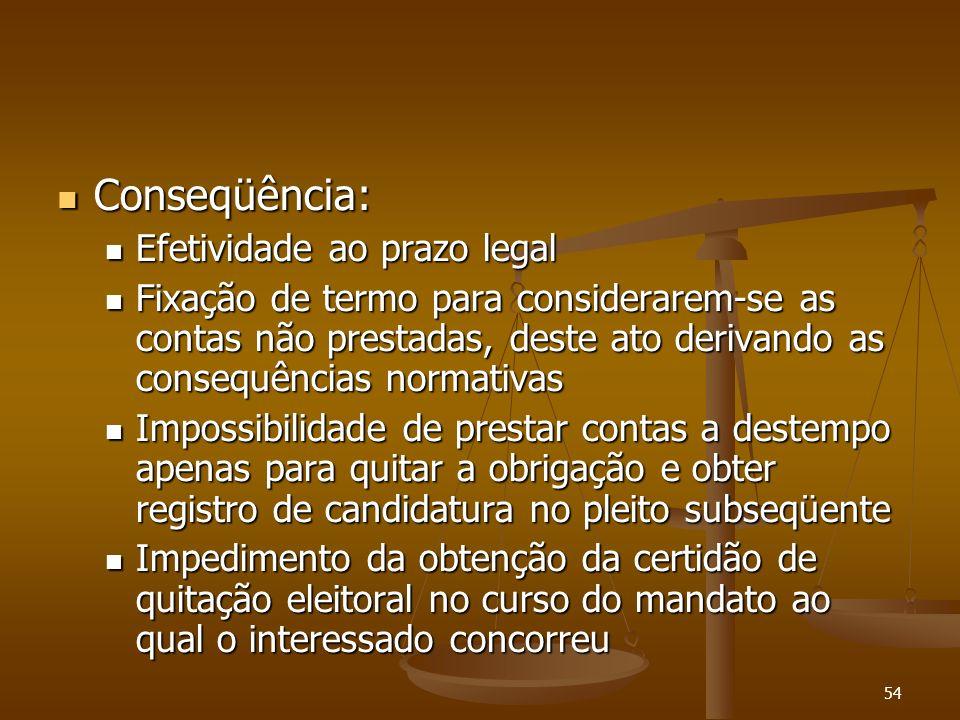 54 Conseqüência: Conseqüência: Efetividade ao prazo legal Efetividade ao prazo legal Fixação de termo para considerarem-se as contas não prestadas, de