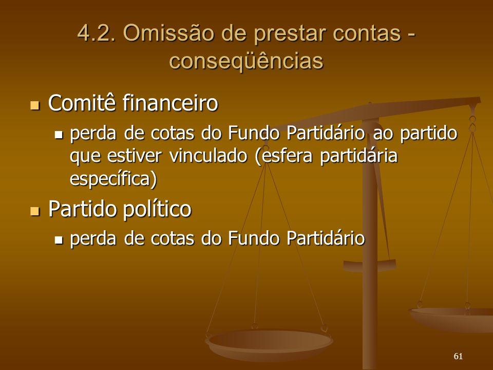 61 4.2. Omissão de prestar contas - conseqüências Comitê financeiro Comitê financeiro perda de cotas do Fundo Partidário ao partido que estiver vincul
