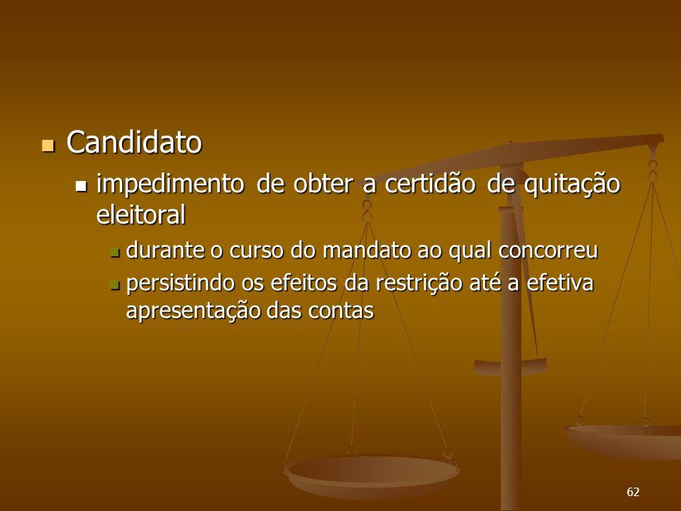 62 Candidato Candidato impedimento de obter a certidão de quitação eleitoral impedimento de obter a certidão de quitação eleitoral durante o curso do