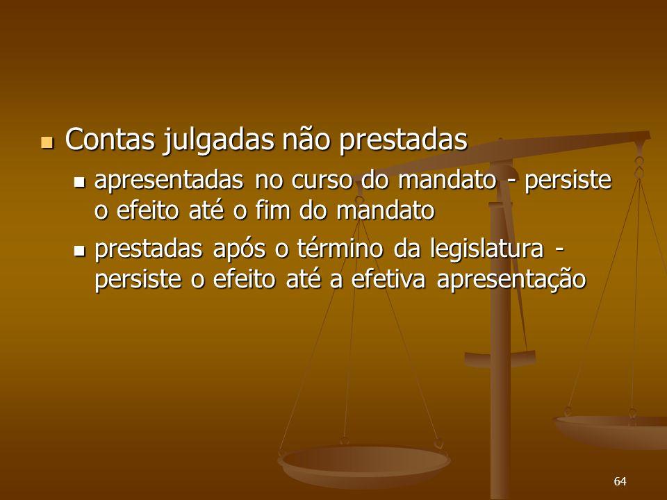 64 Contas julgadas não prestadas Contas julgadas não prestadas apresentadas no curso do mandato - persiste o efeito até o fim do mandato apresentadas