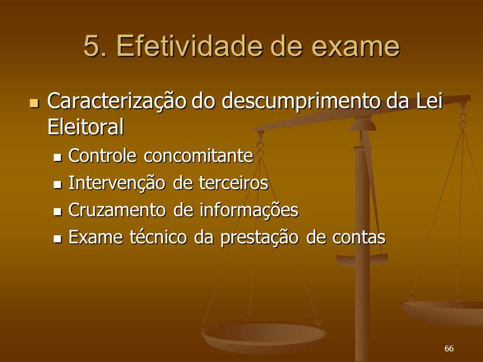 66 5. Efetividade de exame Caracterização do descumprimento da Lei Eleitoral Caracterização do descumprimento da Lei Eleitoral Controle concomitante C