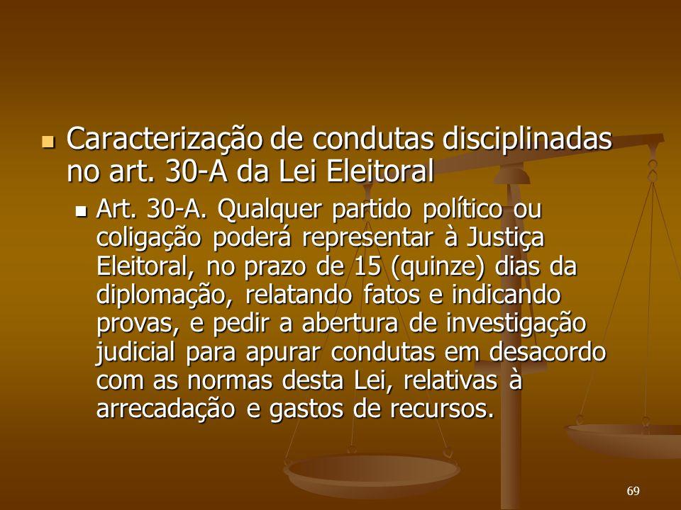 69 Caracterização de condutas disciplinadas no art. 30-A da Lei Eleitoral Caracterização de condutas disciplinadas no art. 30-A da Lei Eleitoral Art.