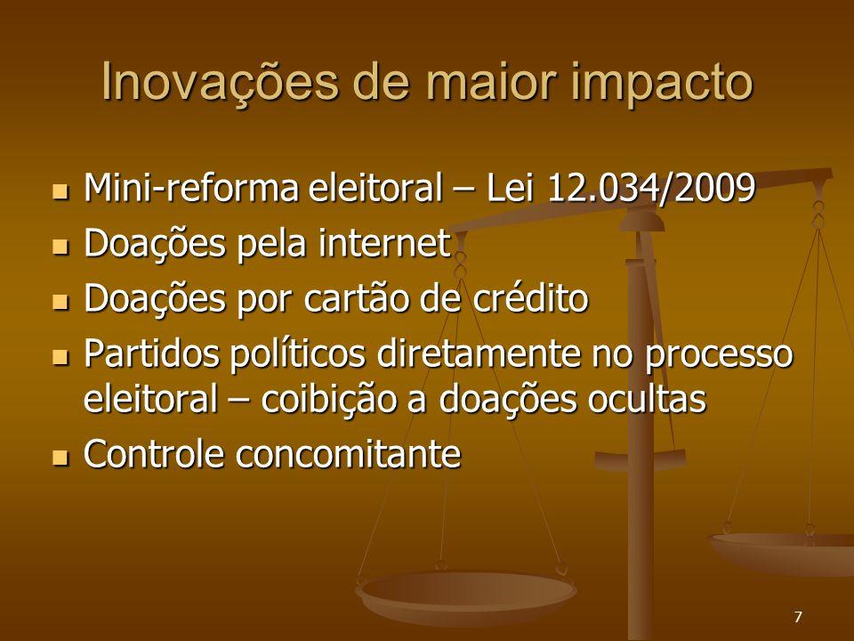 7 Inovações de maior impacto Mini-reforma eleitoral – Lei 12.034/2009 Mini-reforma eleitoral – Lei 12.034/2009 Doações pela internet Doações pela inte