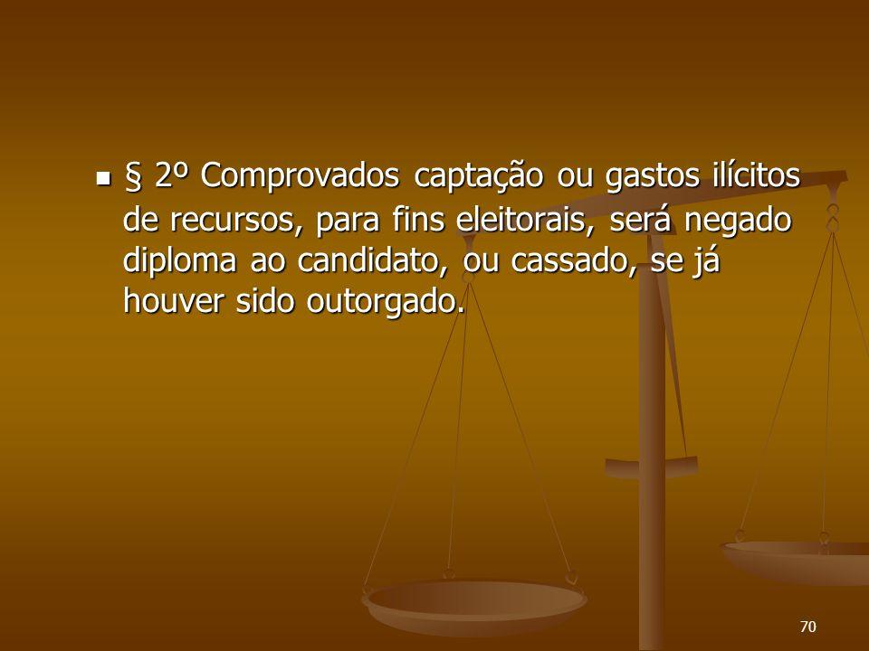 70 § 2º Comprovados captação ou gastos ilícitos de recursos, para fins eleitorais, será negado diploma ao candidato, ou cassado, se já houver sido out