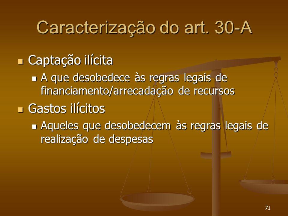 71 Caracterização do art. 30-A Captação ilícita Captação ilícita A que desobedece às regras legais de financiamento/arrecadação de recursos A que deso