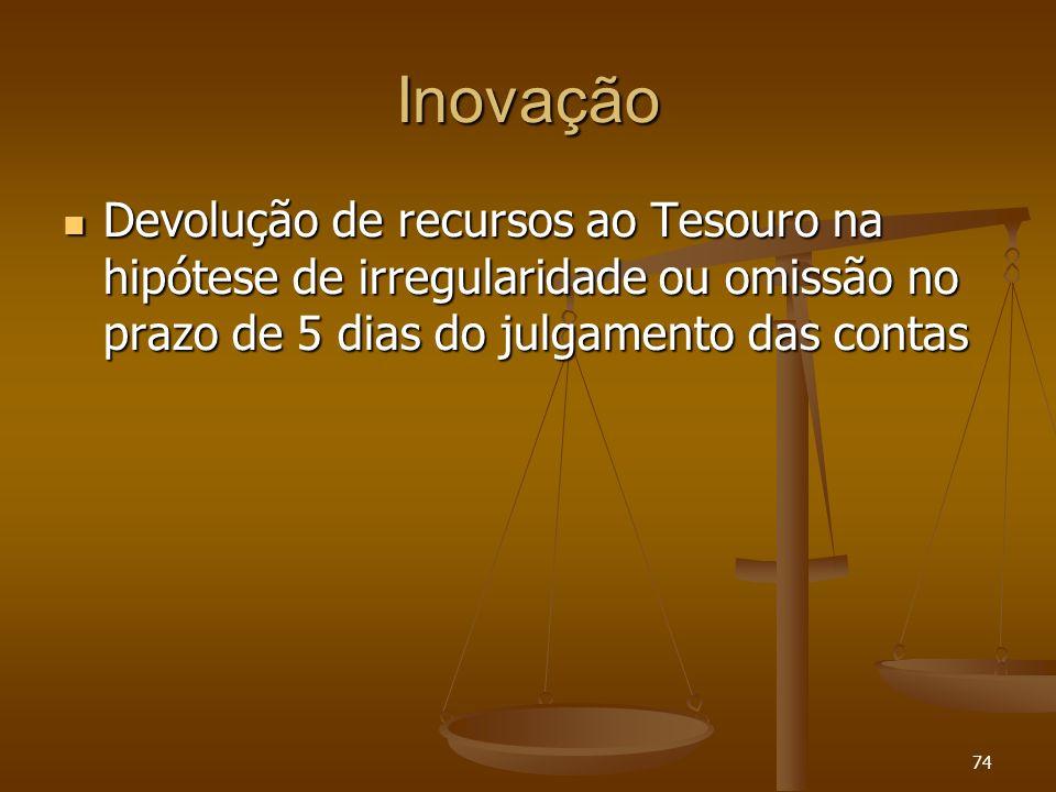 74 Inovação Devolução de recursos ao Tesouro na hipótese de irregularidade ou omissão no prazo de 5 dias do julgamento das contas Devolução de recurso