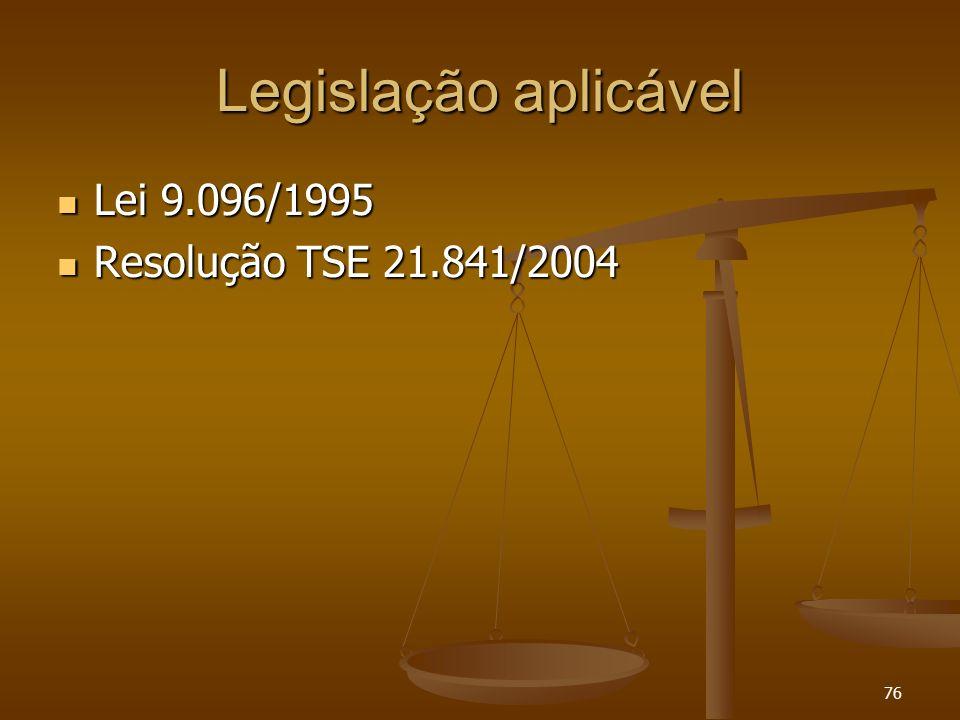 76 Legislação aplicável Lei 9.096/1995 Lei 9.096/1995 Resolução TSE 21.841/2004 Resolução TSE 21.841/2004