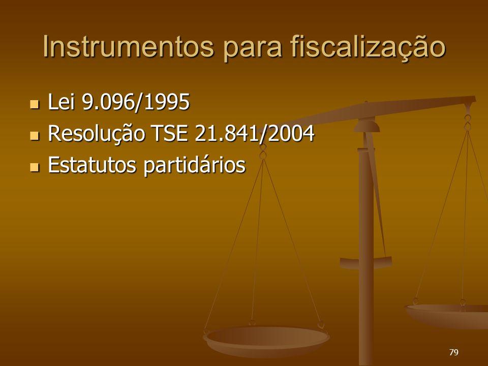 79 Instrumentos para fiscalização Lei 9.096/1995 Lei 9.096/1995 Resolução TSE 21.841/2004 Resolução TSE 21.841/2004 Estatutos partidários Estatutos pa