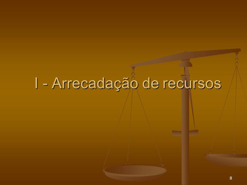 8 I - Arrecadação de recursos