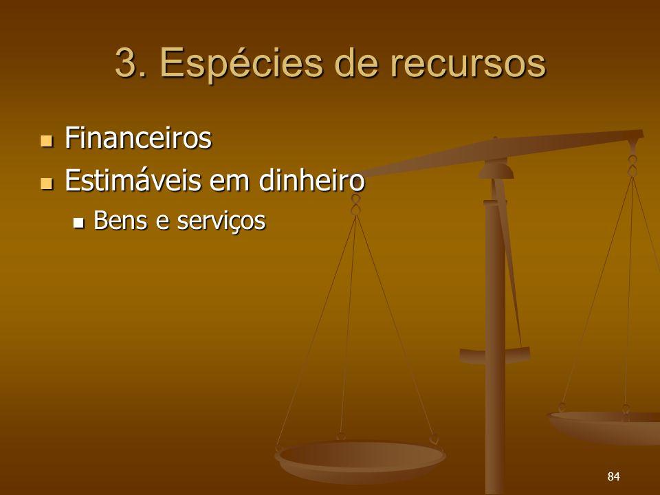 84 3. Espécies de recursos Financeiros Financeiros Estimáveis em dinheiro Estimáveis em dinheiro Bens e serviços Bens e serviços