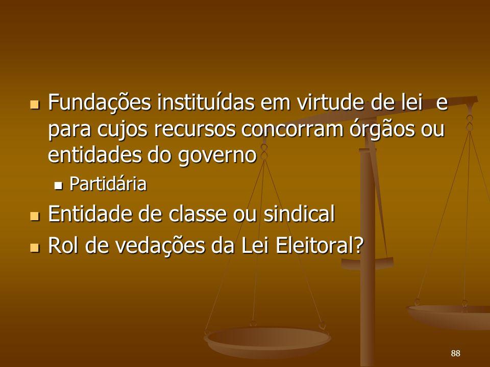 88 Fundações instituídas em virtude de lei e para cujos recursos concorram órgãos ou entidades do governo Fundações instituídas em virtude de lei e pa