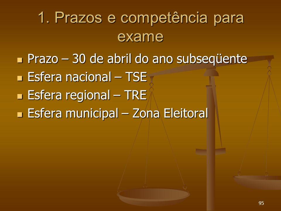95 1. Prazos e competência para exame Prazo – 30 de abril do ano subseqüente Prazo – 30 de abril do ano subseqüente Esfera nacional – TSE Esfera nacio