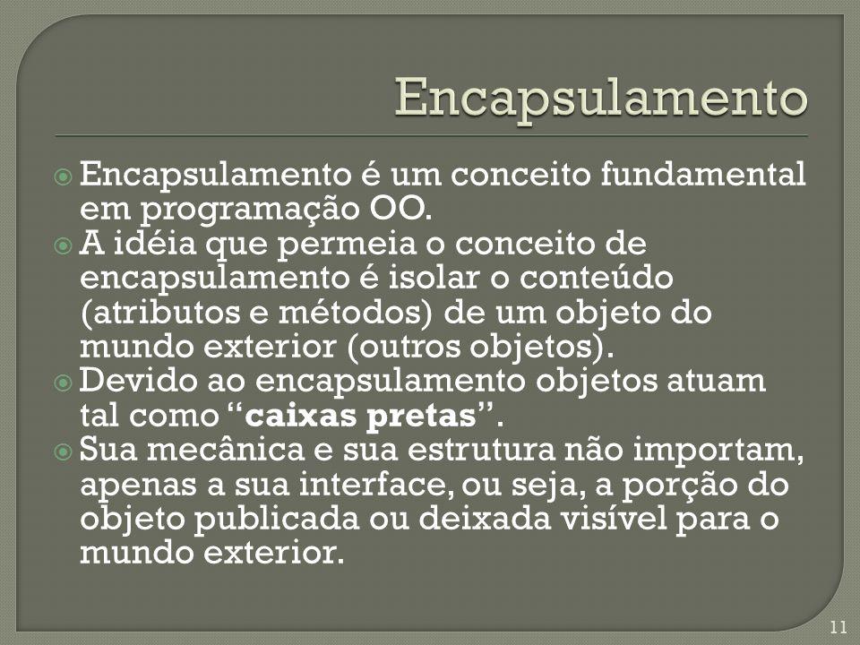 Encapsulamento é um conceito fundamental em programação OO.