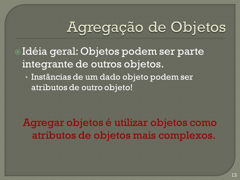 Idéia geral: Objetos podem ser parte integrante de outros objetos.