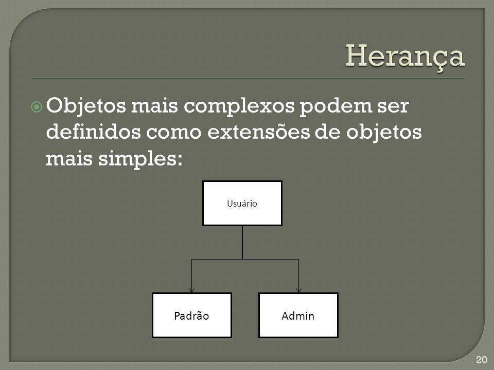 Objetos mais complexos podem ser definidos como extensões de objetos mais simples: 20 Usuário AdminPadrão