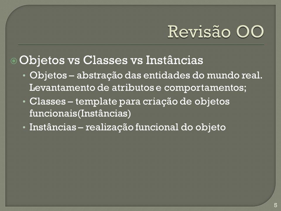 Objetos vs Classes vs Instâncias Objetos – abstração das entidades do mundo real.