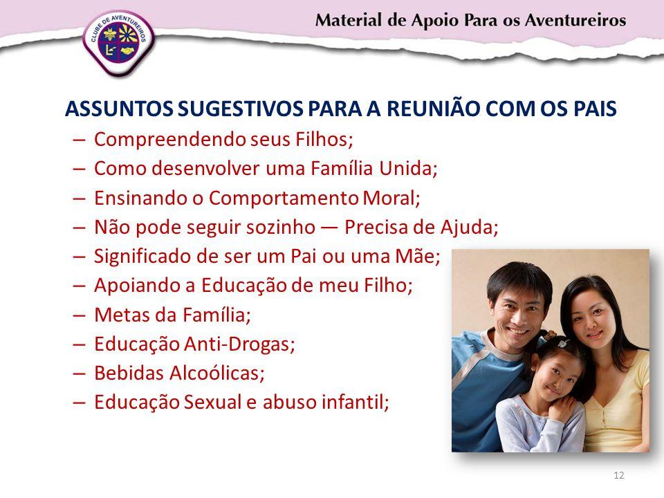 ASSUNTOS SUGESTIVOS PARA A REUNIÃO COM OS PAIS – Compreendendo seus Filhos; – Como desenvolver uma Família Unida; – Ensinando o Comportamento Moral; –