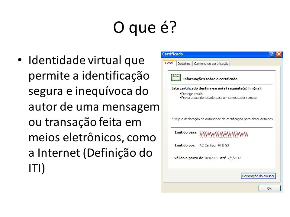 O que é? Identidade virtual que permite a identificação segura e inequívoca do autor de uma mensagem ou transação feita em meios eletrônicos, como a I