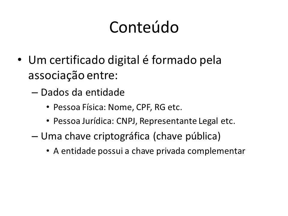 Conteúdo Um certificado digital é formado pela associação entre: – Dados da entidade Pessoa Física: Nome, CPF, RG etc. Pessoa Jurídica: CNPJ, Represen
