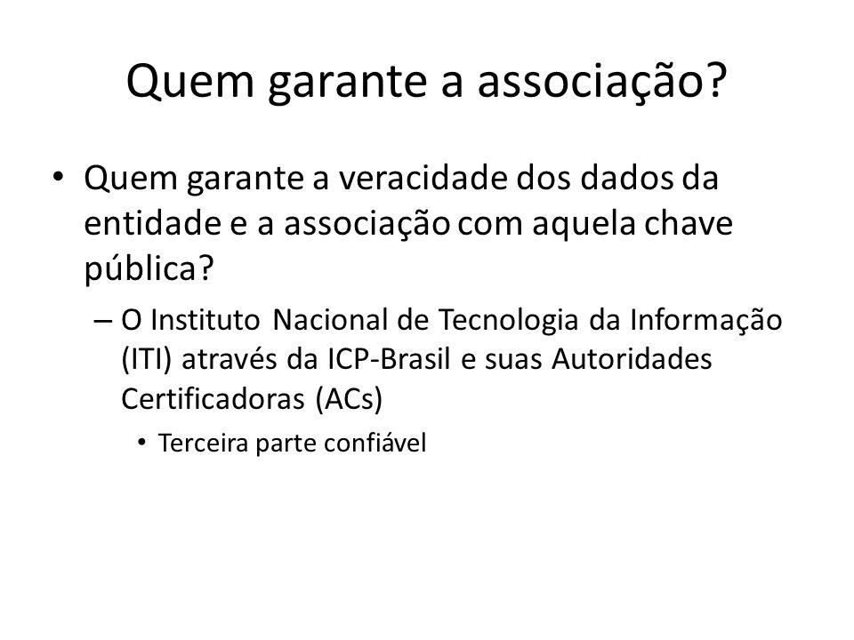 Quem garante a associação? Quem garante a veracidade dos dados da entidade e a associação com aquela chave pública? – O Instituto Nacional de Tecnolog