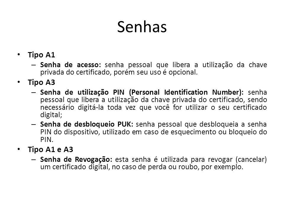 Senhas Tipo A1 – Senha de acesso: senha pessoal que libera a utilização da chave privada do certificado, porém seu uso é opcional. Tipo A3 – Senha de