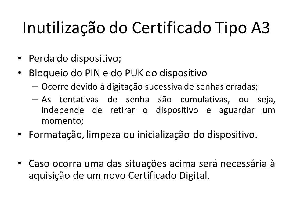 Inutilização do Certificado Tipo A3 Perda do dispositivo; Bloqueio do PIN e do PUK do dispositivo – Ocorre devido à digitação sucessiva de senhas erra