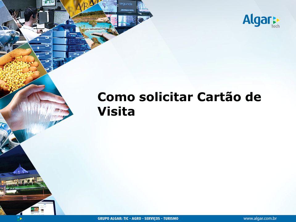 Foi desenvolvido pela Algar o novo modelo de cartão de visitas, com formato mais arredondado, laminado e com verniz localizado.