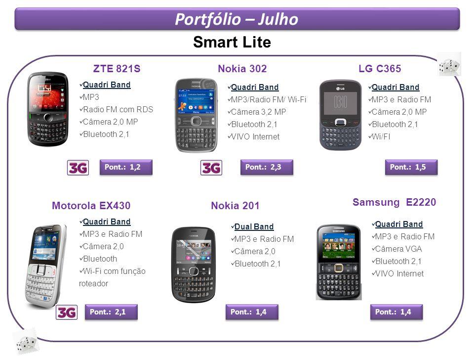 Portfólio – Julho Samsung E2220 Quadri Band MP3 e Radio FM Câmera VGA Bluetooth 2,1 VIVO Internet Pont.: 1,4 LG C365 Quadri Band MP3 e Radio FM Câmera