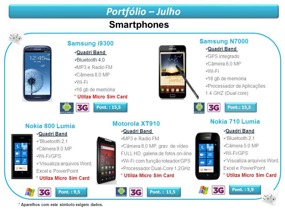 Portfólio – Julho Samsung i9300 Quadri Band Bluetooth 4,0 MP3 e Radio FM Câmera 8,0 MP Wi-Fi 16 gb de memória * Utiliza Micro Sim Card Pont. : 15,5 Sm