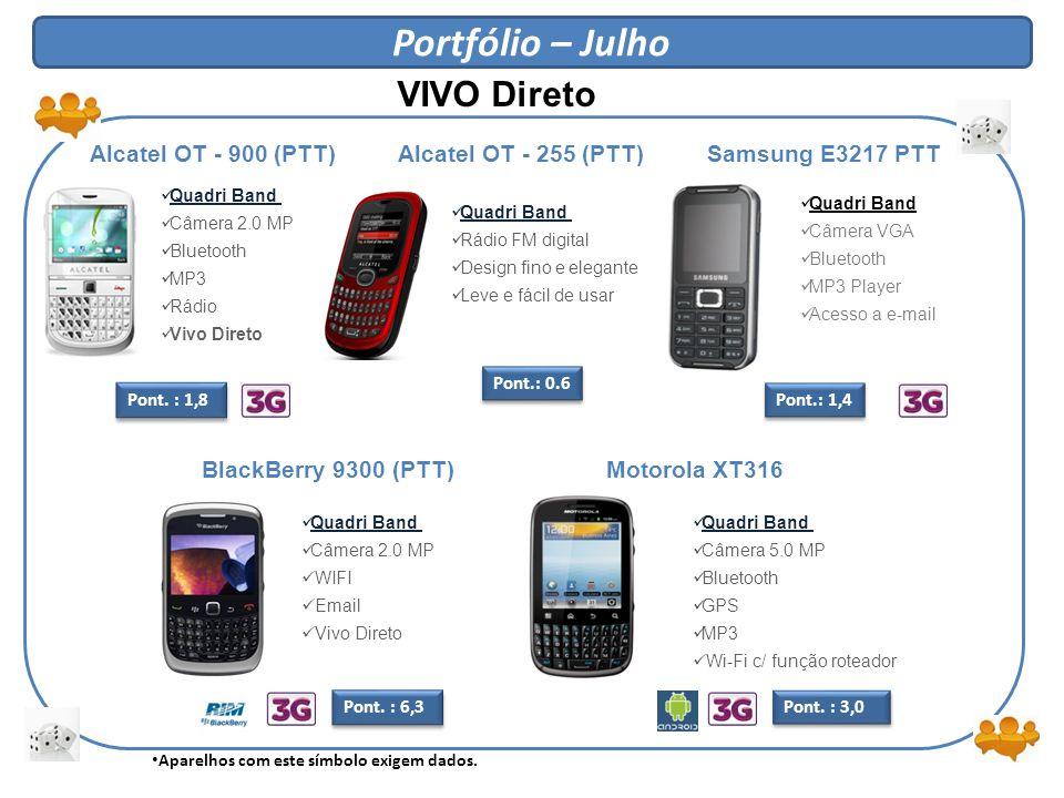 Portfólio – Julho Aparelhos com este símbolo exigem dados. VIVO Direto Quadri Band Câmera 2.0 MP Bluetooth MP3 Rádio Vivo Direto Alcatel OT - 900 (PTT