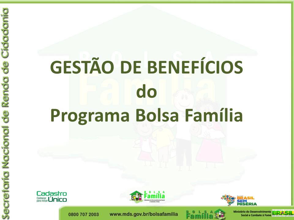 GESTÃO DE BENEFÍCIOS do Programa Bolsa Família