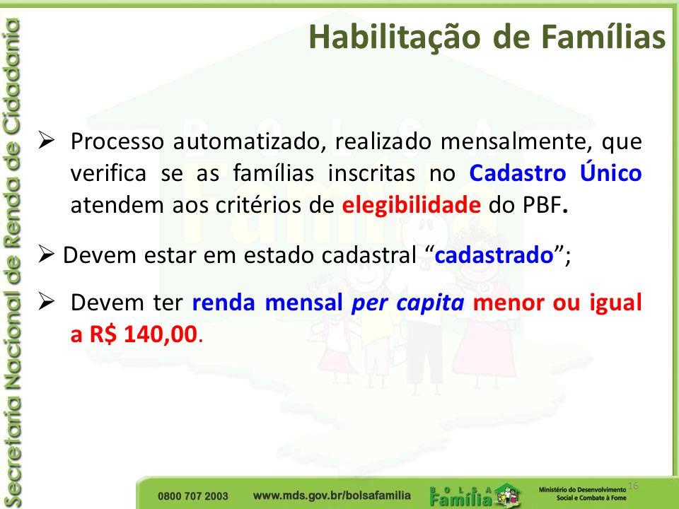 Habilitação de Famílias 16 Processo automatizado, realizado mensalmente, que verifica se as famílias inscritas no Cadastro Único atendem aos critérios