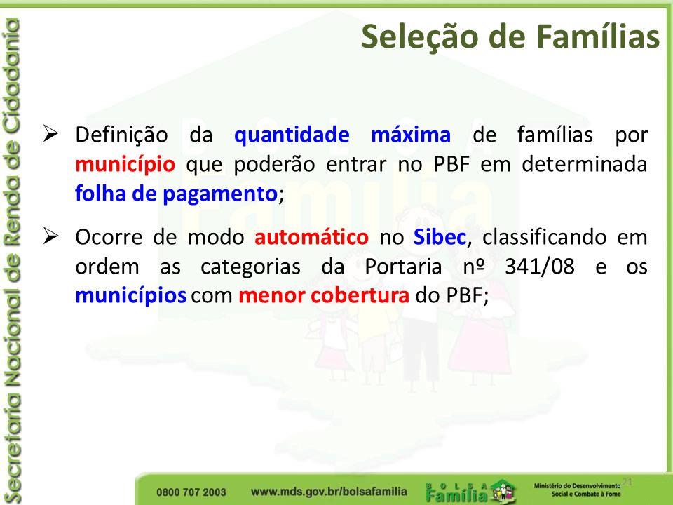 Seleção de Famílias 21 Definição da quantidade máxima de famílias por município que poderão entrar no PBF em determinada folha de pagamento; Ocorre de