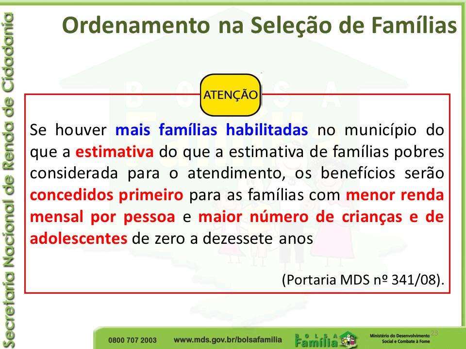 Ordenamento na Seleção de Famílias 23 Se houver mais famílias habilitadas no município do que a estimativa do que a estimativa de famílias pobres cons