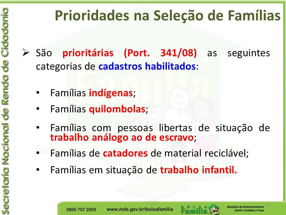 Prioridades na Seleção de Famílias 24 São prioritárias (Port. 341/08) as seguintes categorias de cadastros habilitados: Famílias indígenas; Famílias q