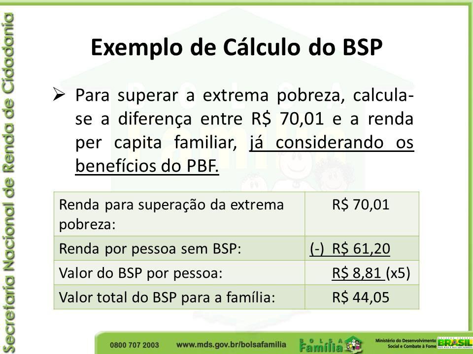 Para superar a extrema pobreza, calcula- se a diferença entre R$ 70,01 e a renda per capita familiar, já considerando os benefícios do PBF. Exemplo de