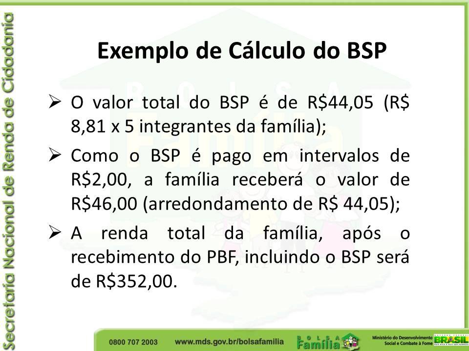 O valor total do BSP é de R$44,05 (R$ 8,81 x 5 integrantes da família); Como o BSP é pago em intervalos de R$2,00, a família receberá o valor de R$46,