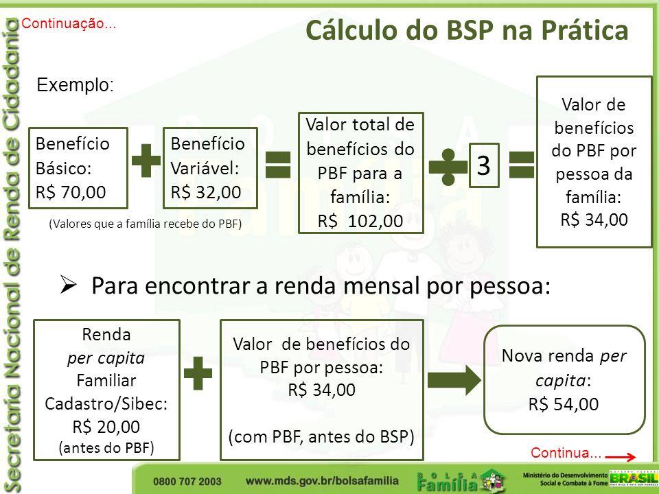 Cálculo do BSP na Prática Benefício Básico: R$ 70,00 Benefício Variável: R$ 32,00 Valor total de benefícios do PBF para a família: R$ 102,00 Para enco