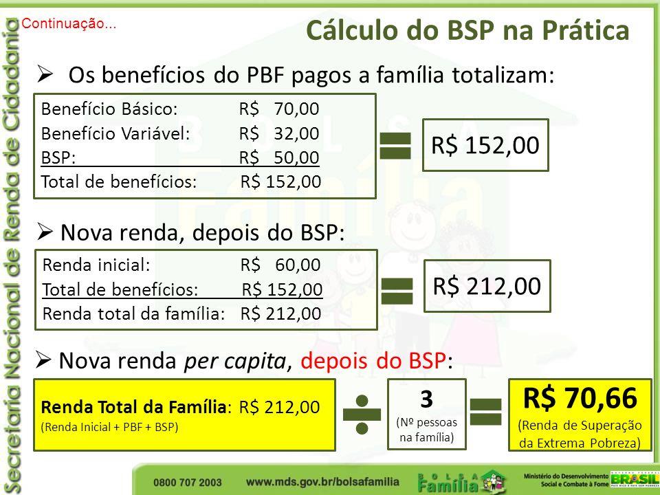 Cálculo do BSP na Prática Continuação... Os benefícios do PBF pagos a família totalizam: R$ 152,00 Benefício Básico: R$ 70,00 Benefício Variável: R$ 3