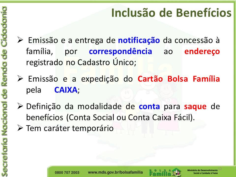 Inclusão de Benefícios 52 Emissão e a entrega de notificação da concessão à família, por correspondência ao endereço registrado no Cadastro Único; Emi
