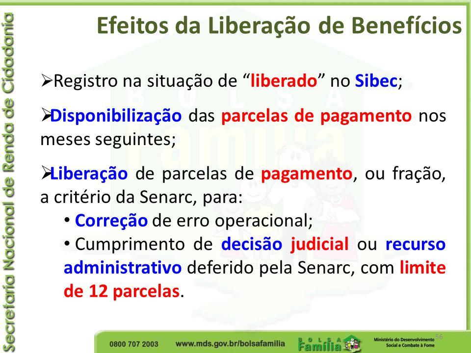 Efeitos da Liberação de Benefícios 56 Registro na situação de liberado no Sibec; Disponibilização das parcelas de pagamento nos meses seguintes; Liber