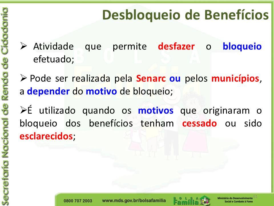 Desbloqueio de Benefícios 61 Atividade que permite desfazer o bloqueio efetuado; Pode ser realizada pela Senarc ou pelos municípios, a depender do mot