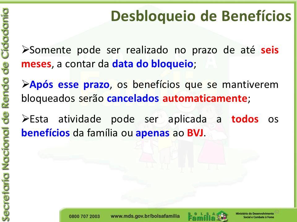 Desbloqueio de Benefícios 62 Somente pode ser realizado no prazo de até seis meses, a contar da data do bloqueio; Após esse prazo, os benefícios que s