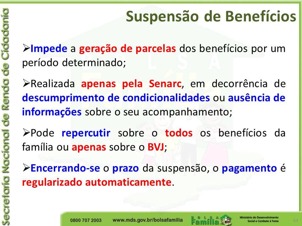 Suspensão de Benefícios 64 Impede a geração de parcelas dos benefícios por um período determinado; Realizada apenas pela Senarc, em decorrência de des