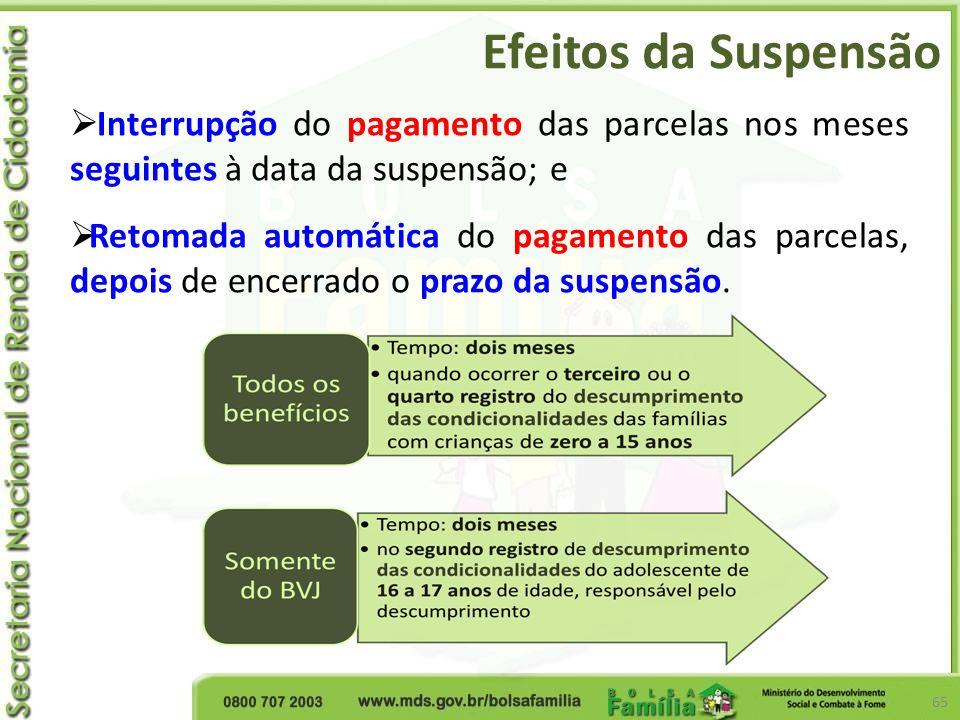 Efeitos da Suspensão 65 Interrupção do pagamento das parcelas nos meses seguintes à data da suspensão; e Retomada automática do pagamento das parcelas