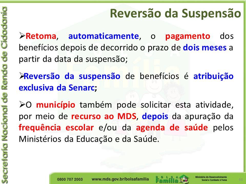 Reversão da Suspensão 66 Retoma, automaticamente, o pagamento dos benefícios depois de decorrido o prazo de dois meses a partir da data da suspensão;