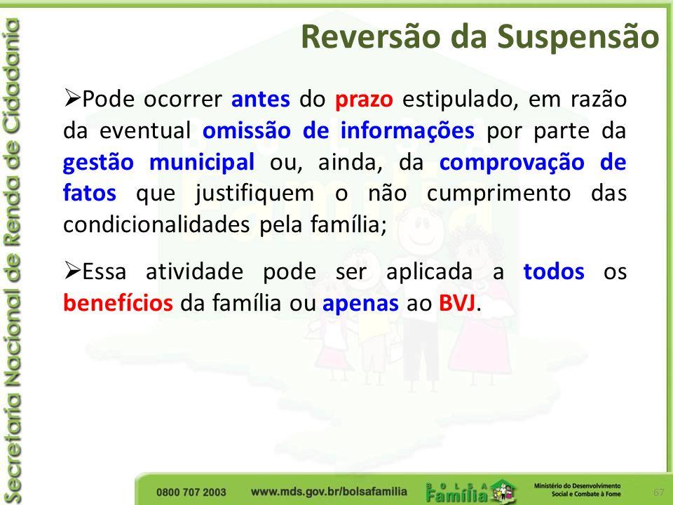 Reversão da Suspensão 67 Pode ocorrer antes do prazo estipulado, em razão da eventual omissão de informações por parte da gestão municipal ou, ainda,