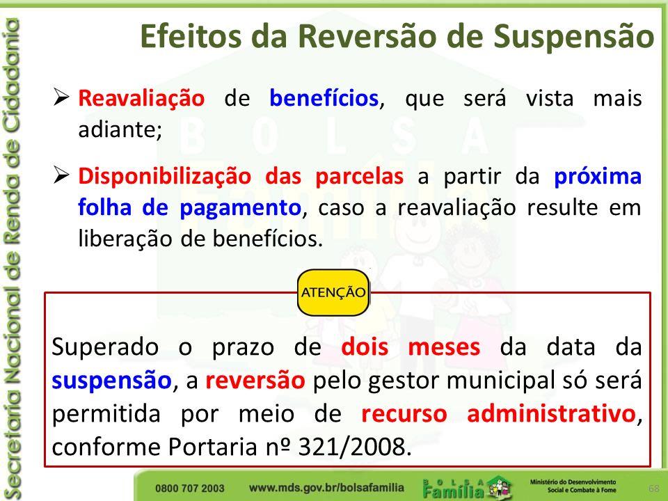 Efeitos da Reversão de Suspensão 68 Reavaliação de benefícios, que será vista mais adiante; Disponibilização das parcelas a partir da próxima folha de